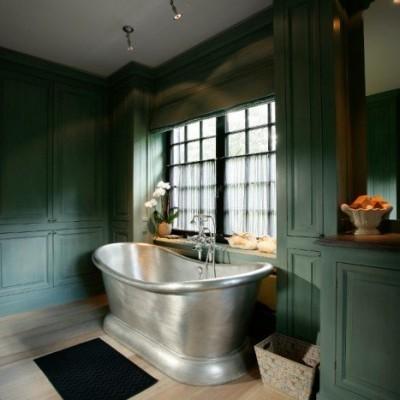 landelijke badkamer - landelijke stijl - vrijstaand bad